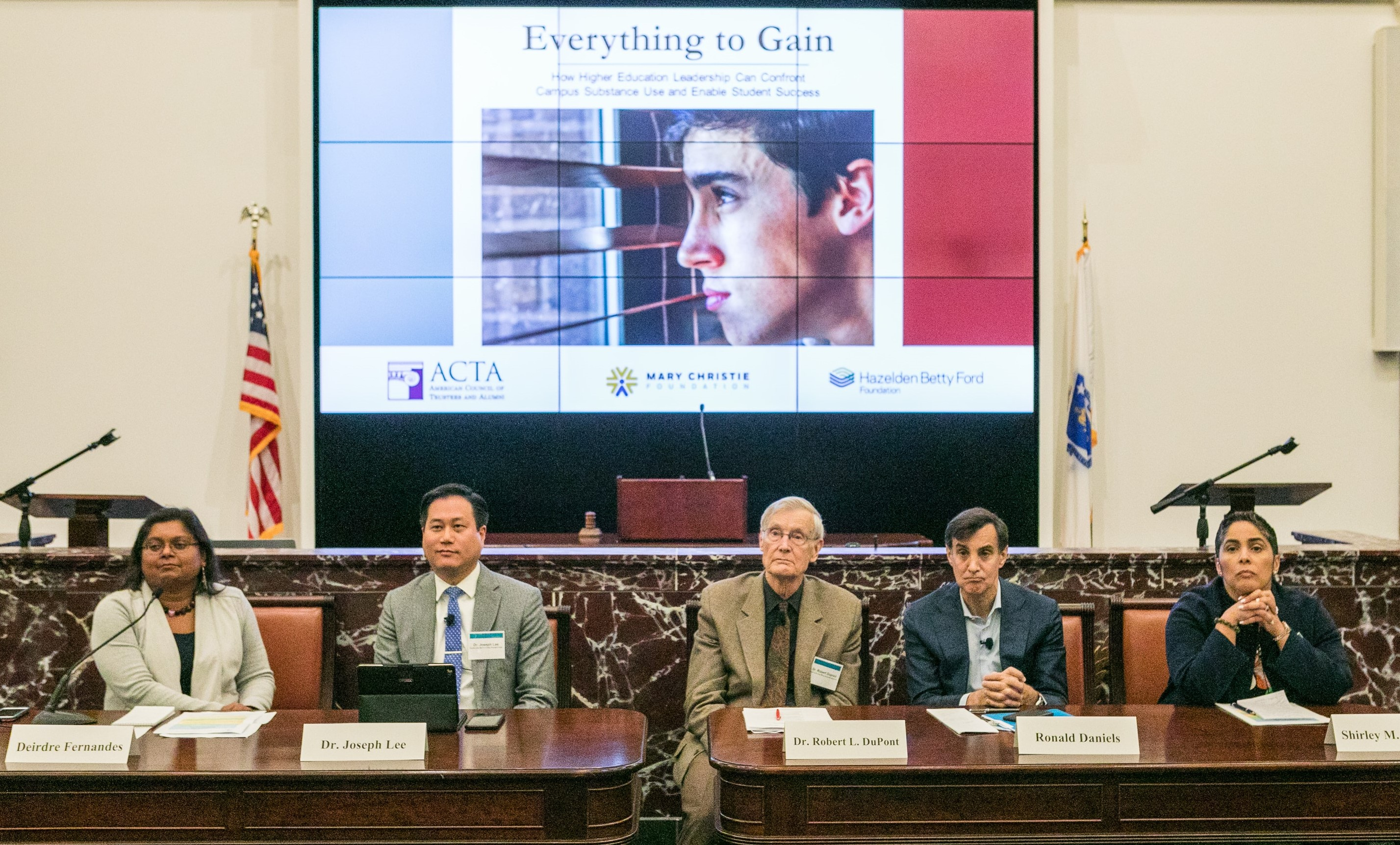 The morning panel at Everything to Gain, ACTA's conference on college drinking and drug use